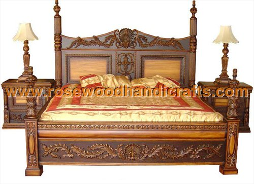 Wooden antique beds rosewood bed