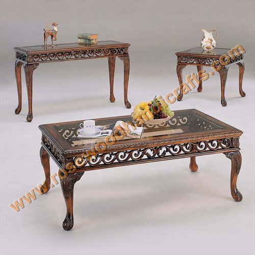 Beautiful Product Code:: WCT 13. Price:: On Inquiry Raw Material:: Sheesham Wood (  Rosewood ) Detail:: Coffee Table Set ( 1 Centre Piece, 2 Sides)