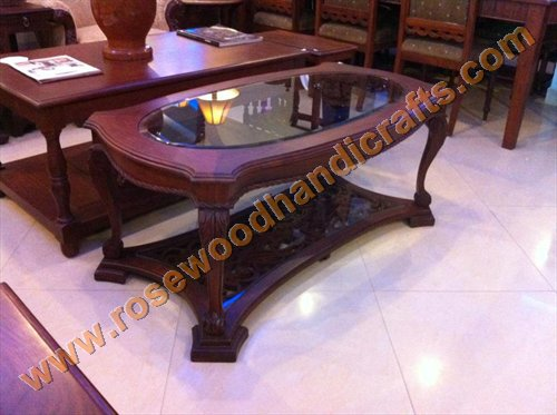 Oval Shape Wooden Coffee Table