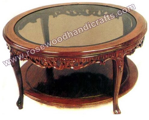 Coffee Table Round Top With Deep Carved Border