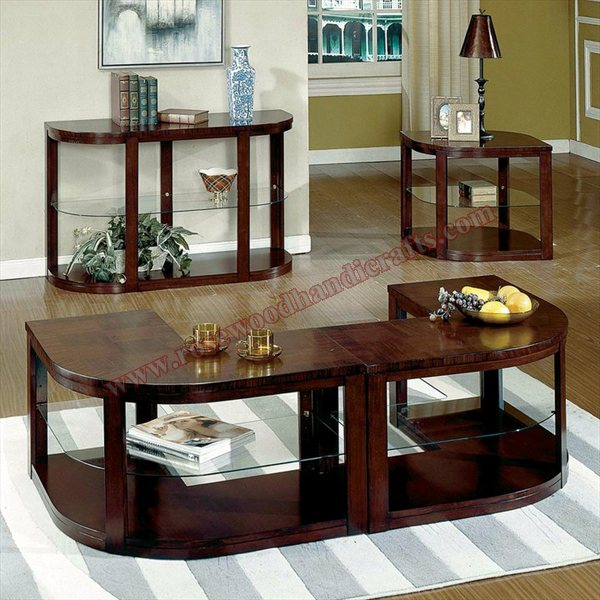 Wooden Console Table With Coffee Table Set