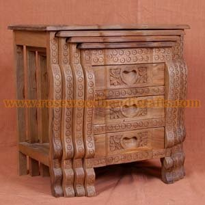 Wooden Nesting Tables Rosewood Nesting Table Wooden Carved Nesting - Nesting table with drawer