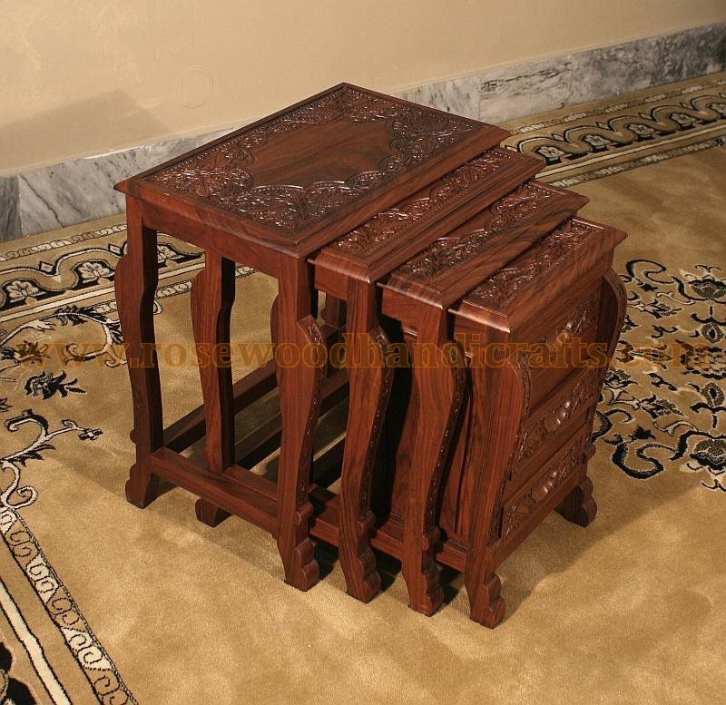 Wooden nesting tables rosewood table