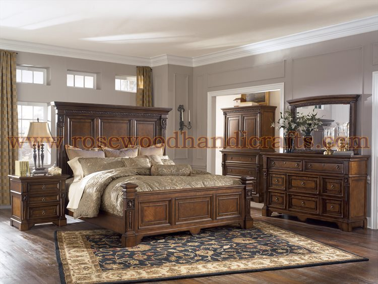 Wooden Panel Bed Set, Rosewood Panel Beds, Panel Bed Set, Rosewood Bed