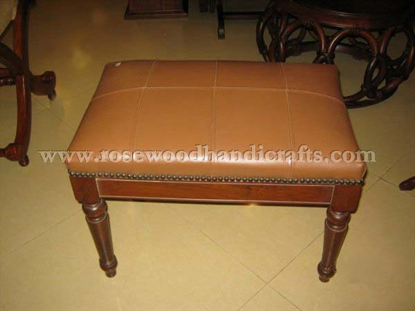 Wooden Leather Ottoman