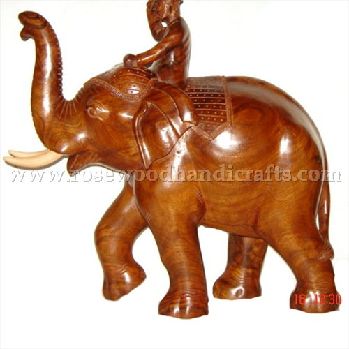 Wooden Elephant With Man