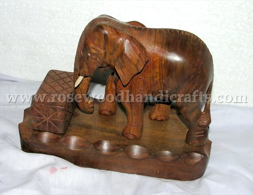 Wooden Elephant On Stand