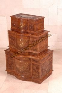 Wooden Captain Chest With Carving Work