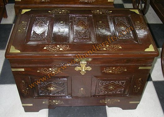 Wooden Captain Chest Brass Inlaid Work