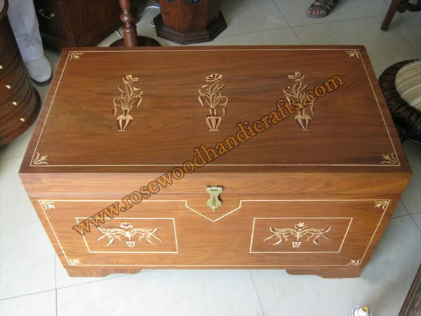 Wooden Captain Chest Flat Top With Wood inlaid