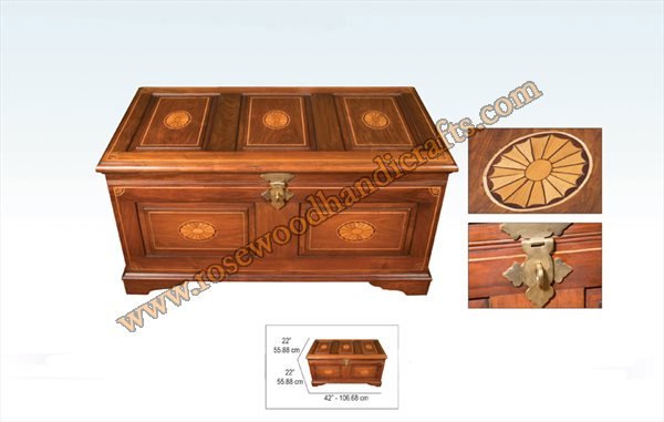 Wooden Captain Chest With Wood inlay Work