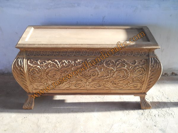 Wooden Captain Chest Full Handmade Carved