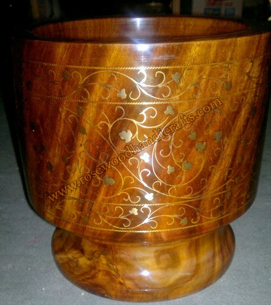 Wooden Mortar And Pestle With Brass Inlay Work