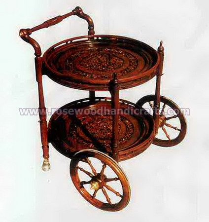 Round Sytal Wooden Tea Cart