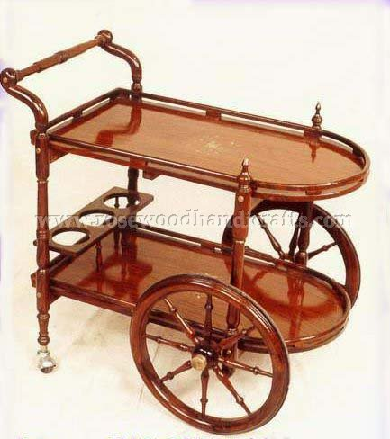 D Style Tea Cart With Bottle Rack