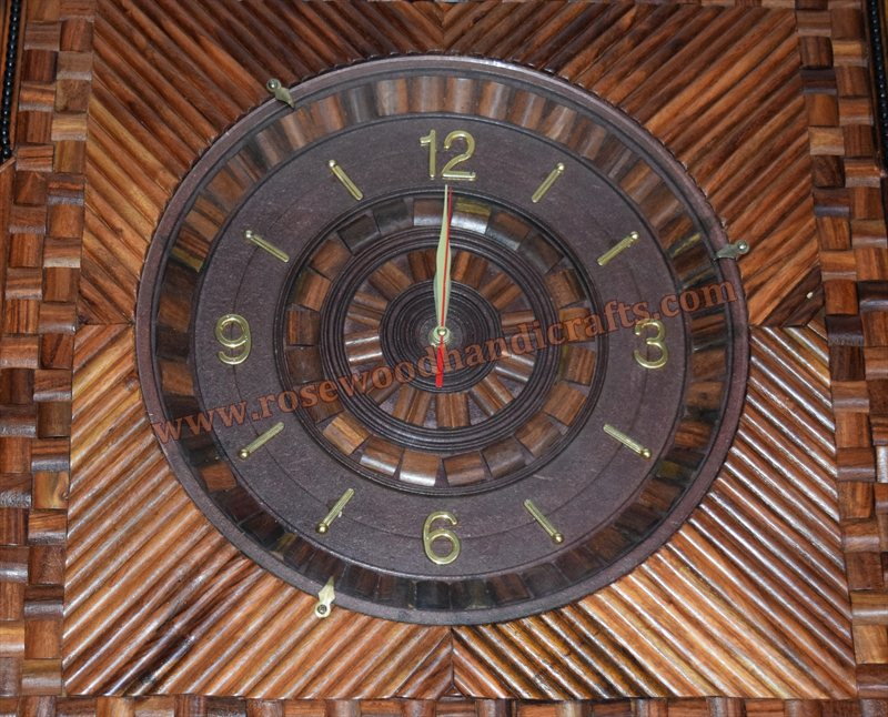Wooden Square Shape Inner Star Work Wall Clock