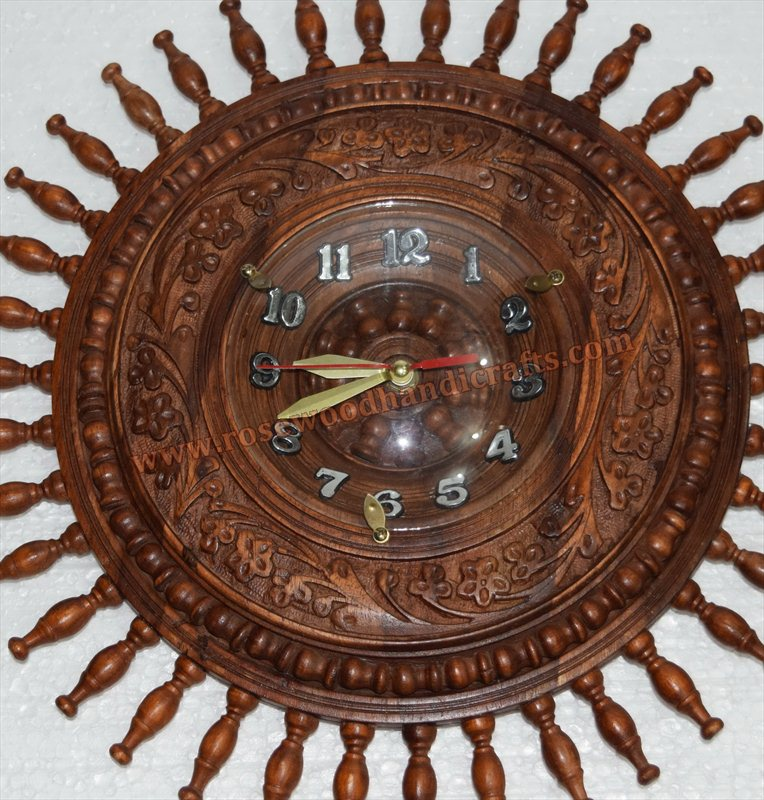 Wooden Round Shape Fine Carved Wall Clock