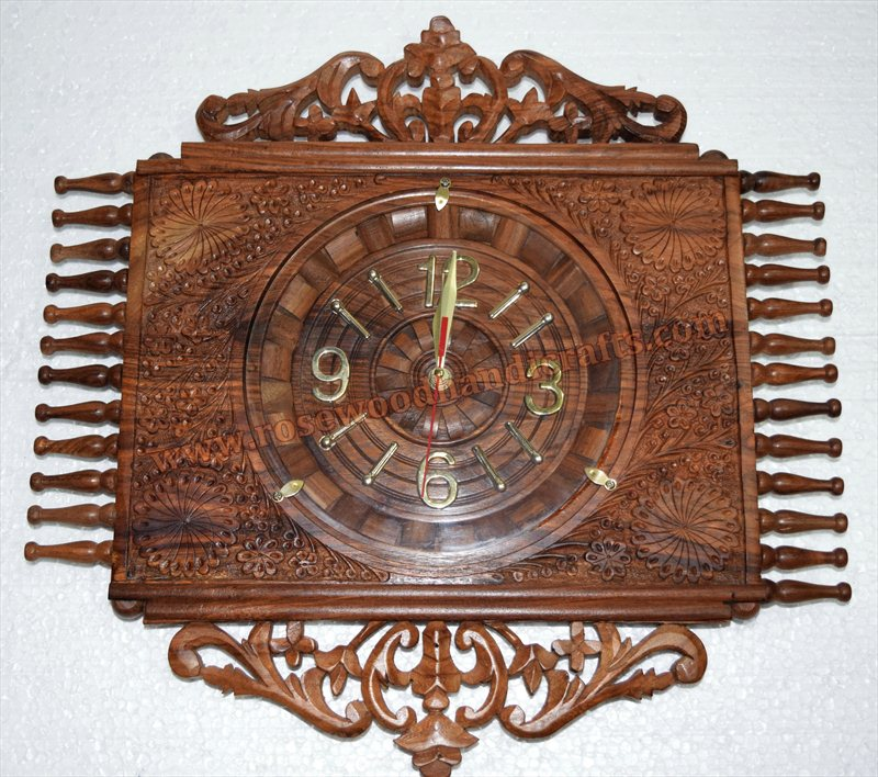 Wooden Highy Carved Work Wall Clock