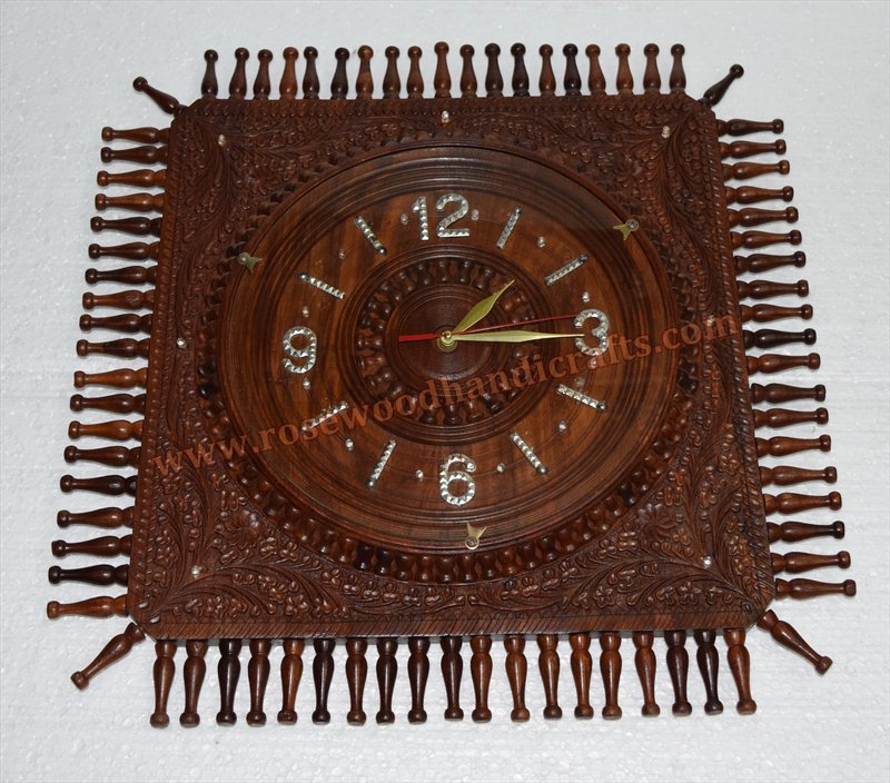 Wooden Lighting Work Square Shape Fine Carved Wall Clock
