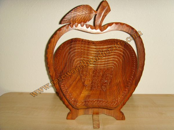 Wooden Apple Shape Fruit Basket
