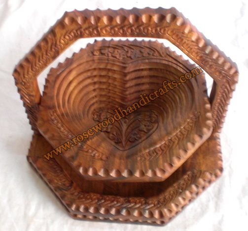 Wooden Octa Shape Single Compartment Spring Basket