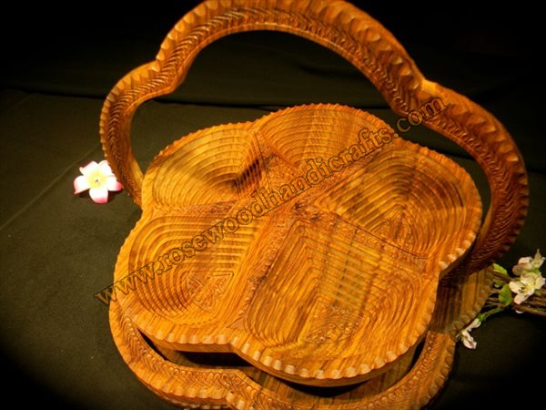 Wooden Flower Shape 5 Compartments Spring Basket